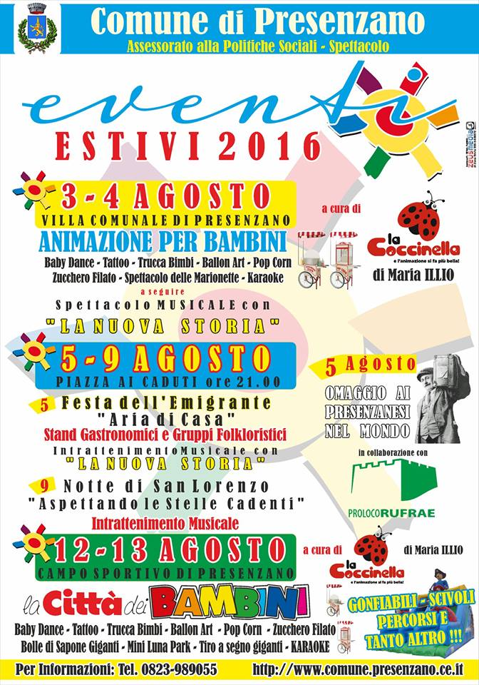 EVENTI ESTIVI 2016